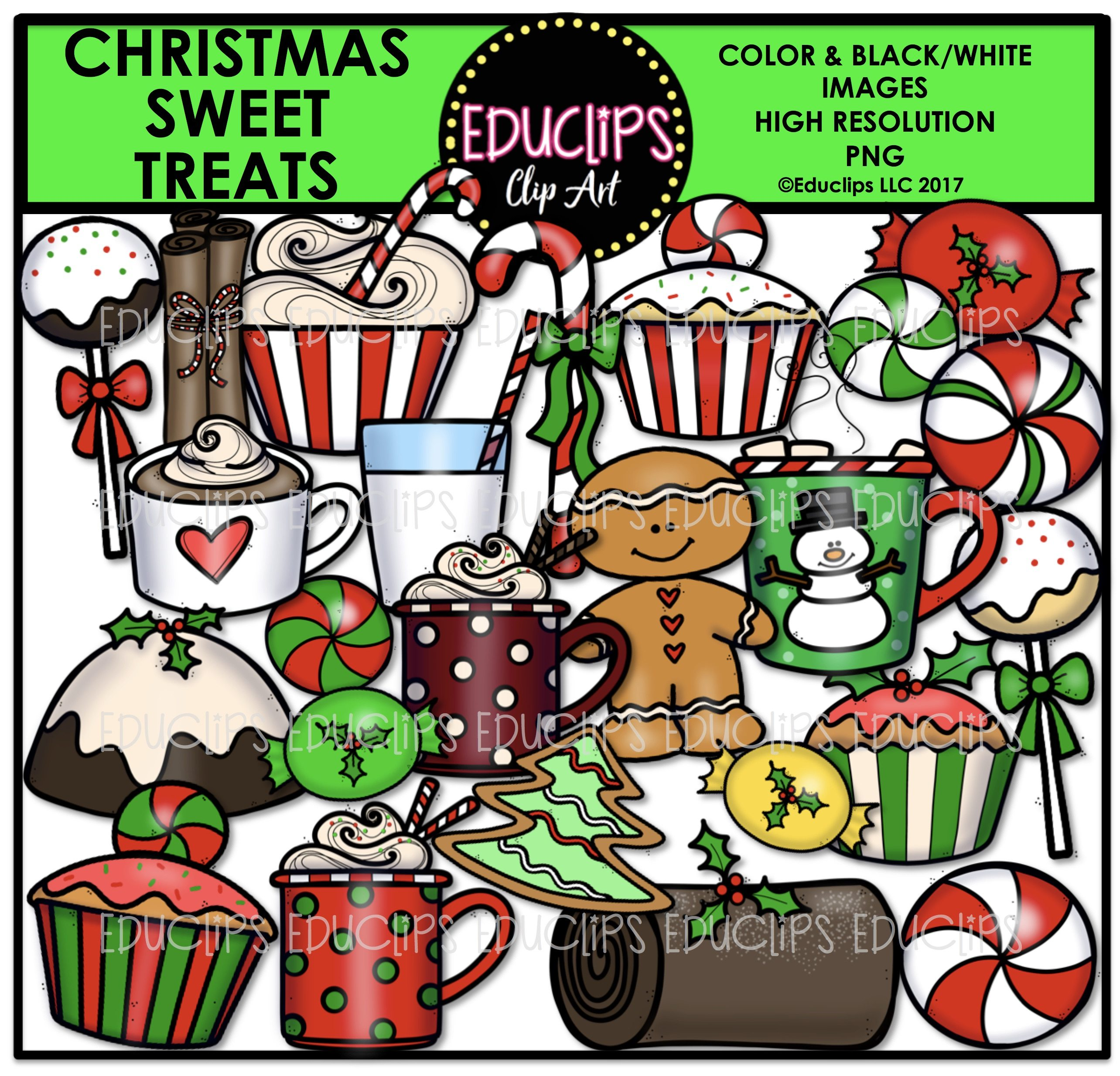 Sweet treats candy clipart images vector free Christmas Sweet Treats Clip Art Bundle (Color and B&W) vector free