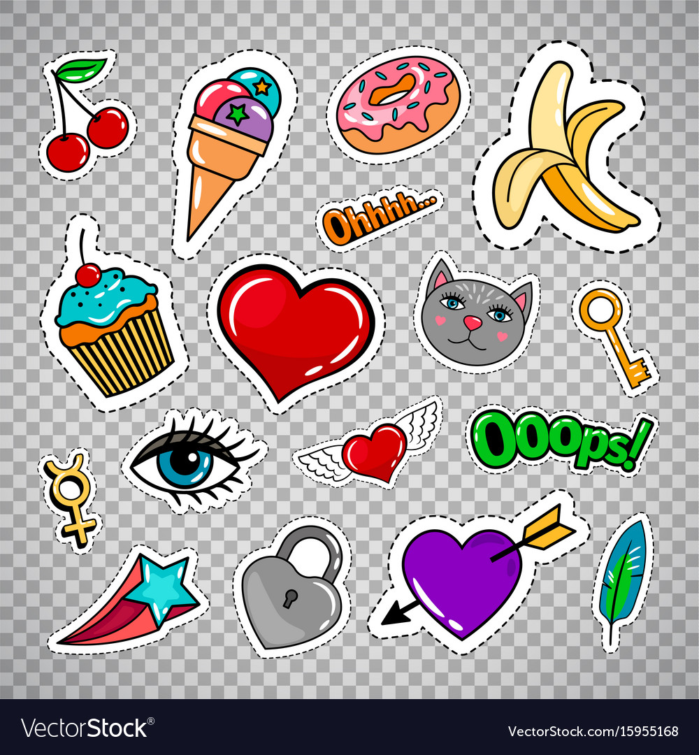 Sweets and treats clipart heart transparent background png freeuse Sweet quirky badges on transparent background png freeuse