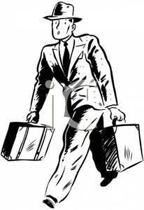 Swiftly clipart graphic black and white library A Businessman Walking Swiftly with Two Briefcases - Royalty ... graphic black and white library