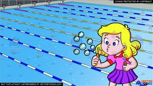 Swim bubbles clipart graphic free library A Young Girl Blowing Bubbles and Outdoor Competition Swimming Pool  Background graphic free library
