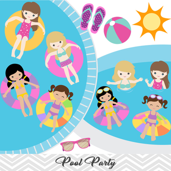 Swim party clipart clip library download Girls Pool Party Clip Art Girls Swim Party Clip Art Summer Swim Pool Party  00197 clip library download
