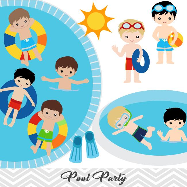 Swim party clipart image free Boys Pool Party Clip Art, Boys Swim Party Clipart, Summer Pool Party  Clipart, 00198 image free