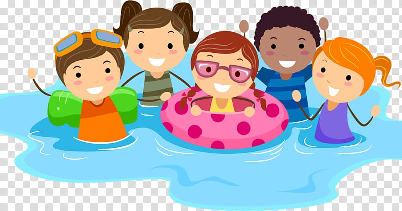 Swim pool clipart boy svg library stock Five children on water illustration, Swimming pool Child ... svg library stock