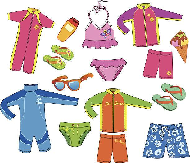 Swim suit for kids clipart clip library Set of swimsuit for kids. » Clipart Portal clip library