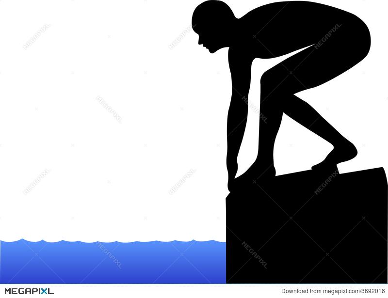 Swimmer diving off block clipart clipart library stock Swimmer On Starting Block/eps Illustration 3692018 - Megapixl clipart library stock