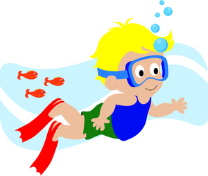 Swimmers mask clipart clip art transparent download Child Swimming Underwater with Scuba Mask, Blowing Bubbles ... clip art transparent download