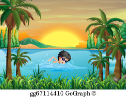 Swimming across the river clipart clip art library EPS Illustration - A boy swimming at the river with goggles ... clip art library