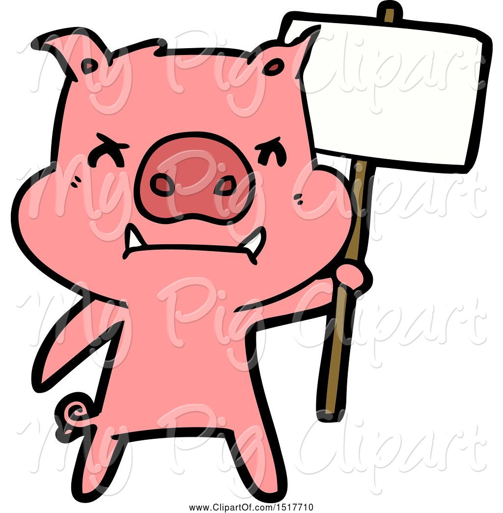 Swine clipart png black and white download Swine Clipart of Angry Pig Protesting by lineartestpilot - #4644 png black and white download