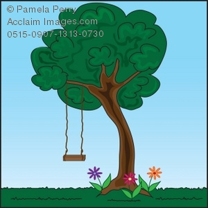 Swing by tree clipart black and white download Clip Art Illustration of a Tree Swing in a Yard black and white download