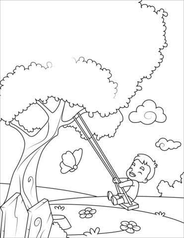 Swinging clipart coloring page vector freeuse download Boy on a Swing coloring page | Free Printable Coloring Pages vector freeuse download