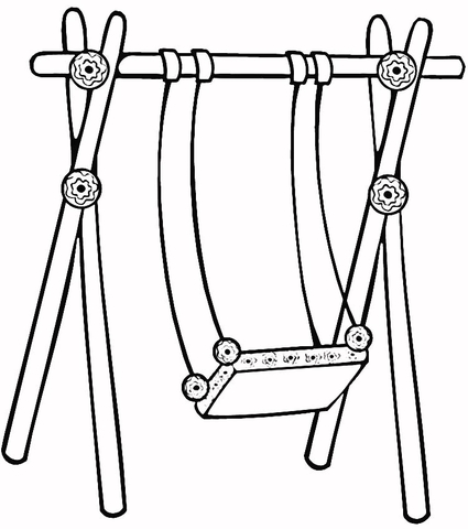 Swinging clipart coloring page png free download Swing for Kids coloring page | Free Printable Coloring Pages png free download