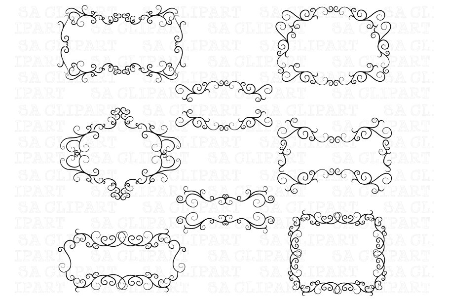 Swirl frame clipart clip art library download Flourish Swirl Border Frame Clipart clip art library download