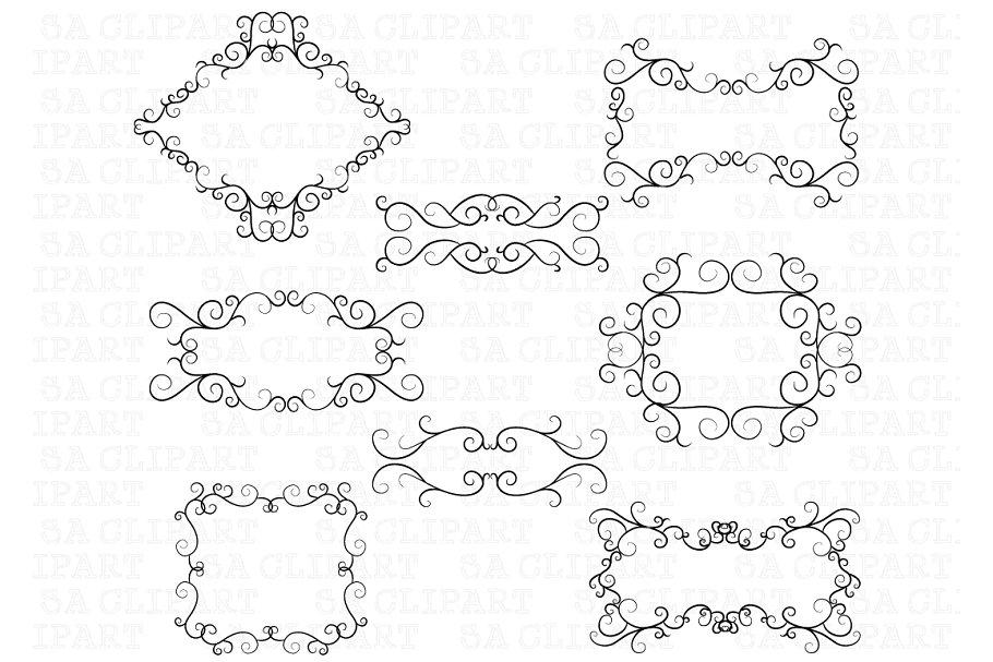 Swirl frame clipart jpg transparent Flourish Swirl Border Frame Clipart jpg transparent