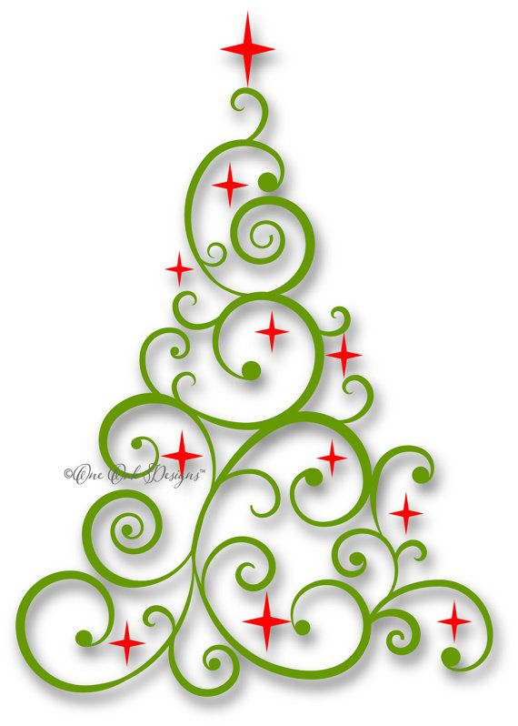 Swirly christmas tree clipart png clip transparent library Swirly Tree with Stars SVG File PDF / dxf / jpg / png ... clip transparent library