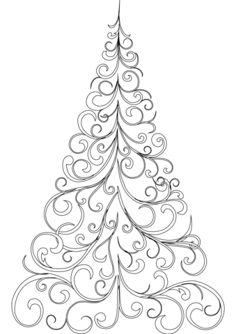 Swirly christmas tree clipart png svg black and white library Swirly Christmas Tree coloring page | Free Printable ... svg black and white library