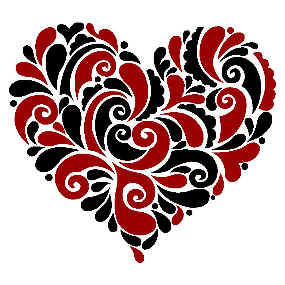 Swirly heart clipart