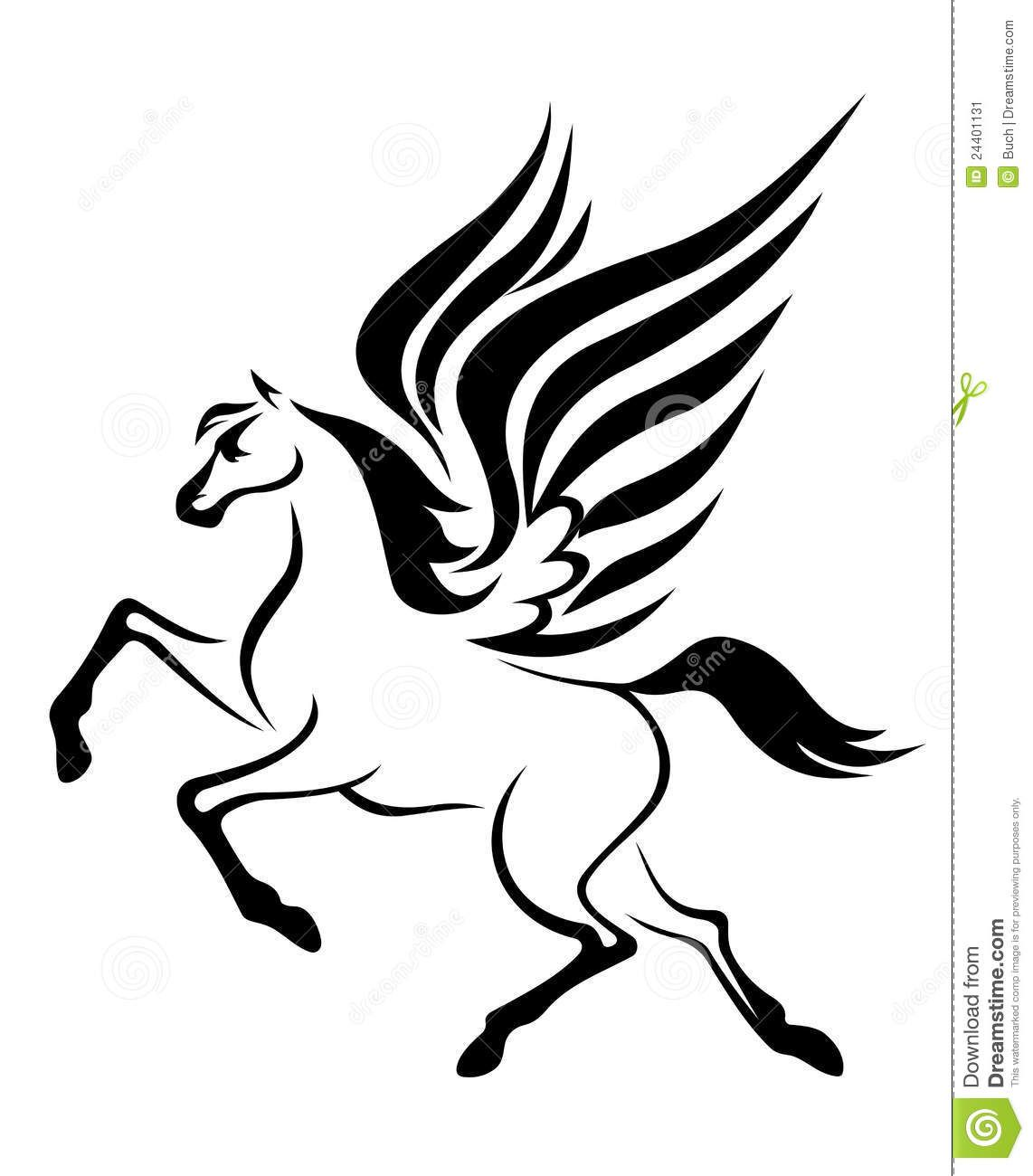 Swirly horse black and white clipart library Pegasus Horse With Wings Stock Image - Image: 24401131 ... library