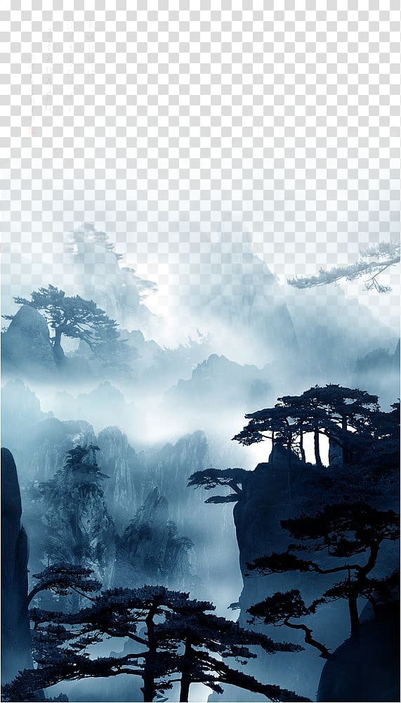 Swiss alps clipart sihllouette free Silhouette of trees and mountain illustration, China Nature ... free