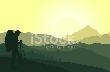 Swiss alps clipart sihllouette image black and white Green Mountain Landscape With Silhouette of Tourist premium ... image black and white