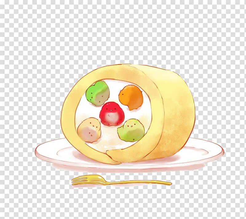 Swiss cake roll food clipart jpg free Swiss roll Food Cake Illustration, Puff cake chick ... jpg free