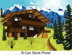 Swiss chalet clipart picture royalty free stock Chalet Vector Clipart EPS Images. 1,048 Chalet clip art ... picture royalty free stock