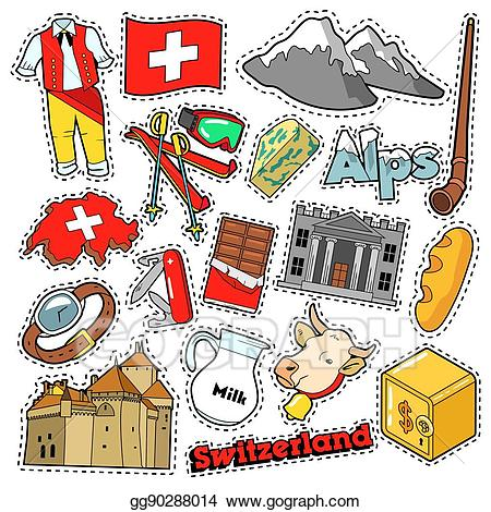 Swiss clipart png royalty free Vector Clipart - Switzerland travel scrapbook stickers ... png royalty free