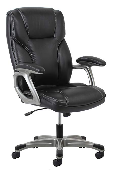 Swivel chair clipart back view banner freeuse Essentials High-Back Leather Executive Office/Computer Chair with Arms -  Ergonomic Swivel Chair (ESS-6030-BLK) banner freeuse