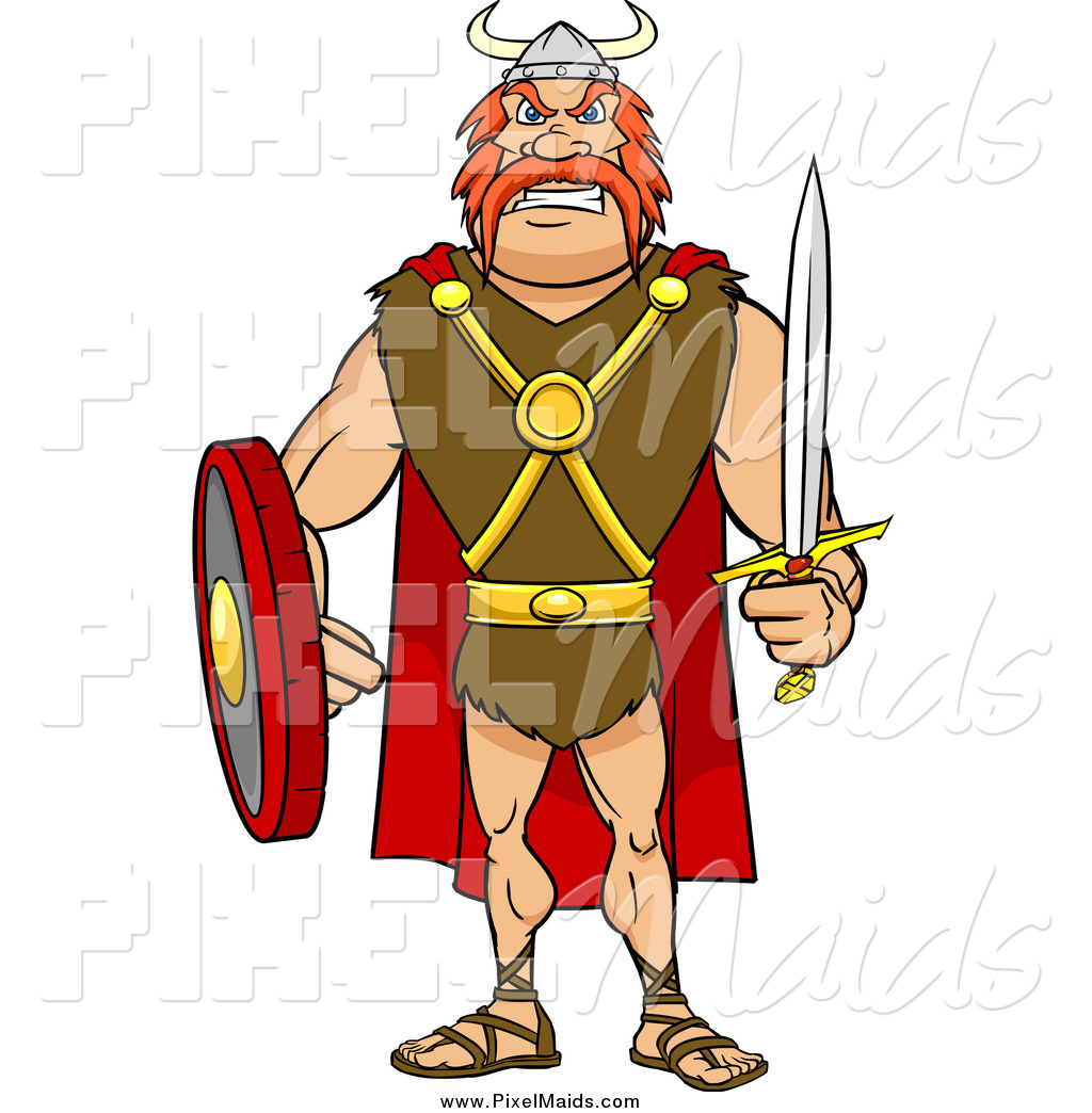 Sword and shield warrior clipart svg freeuse Clipart of a Tough Red Haired Viking Warrior with a Sword ... svg freeuse