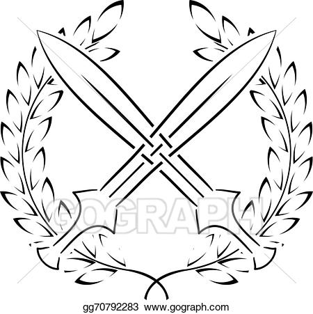 Sword dezine clipart line drawing banner royalty free Stock Illustration - Crossed swords with laurel wreath ... banner royalty free