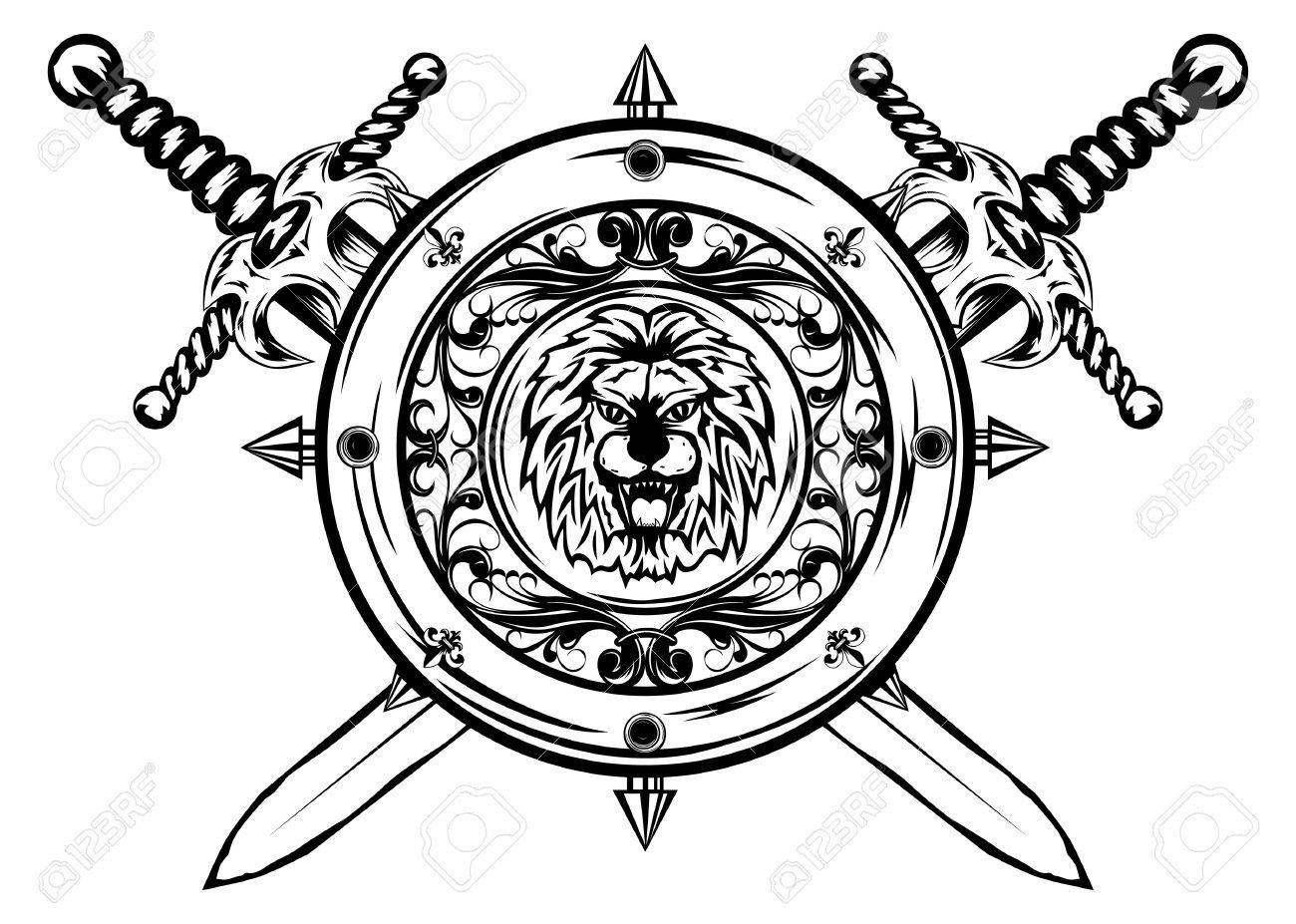 Sword dezine clipart line drawing clip art free library Stock Vector | Tattoo | Sword tattoo, Shield tattoo, Sword clip art free library