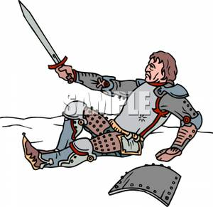 Sword in ground clipart clipart transparent download A Knight Laying on the Ground Holding His Sword In Defense ... clipart transparent download