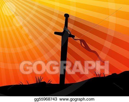 Sword in ground clipart svg royalty free download Drawing - Background, sword in sunset. Clipart Drawing ... svg royalty free download