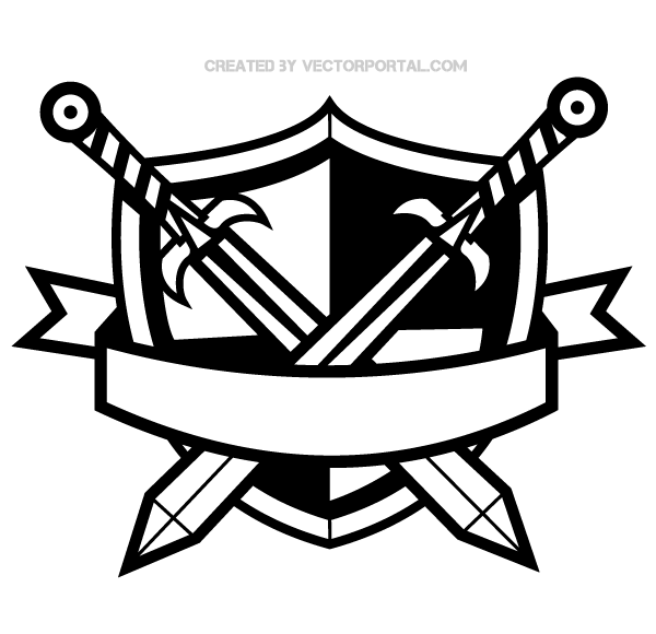 Shield and sword clipart clip royalty free library Heraldic Shield with Cross Swords and Banner Clip Art ... clip royalty free library