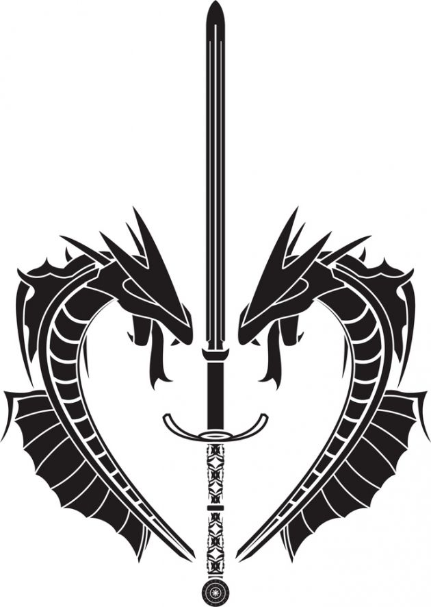 Sword through heart clipart b&w png freeuse download Sword and dragon tattoo tribal by Unknown Artist | Dragon ... png freeuse download