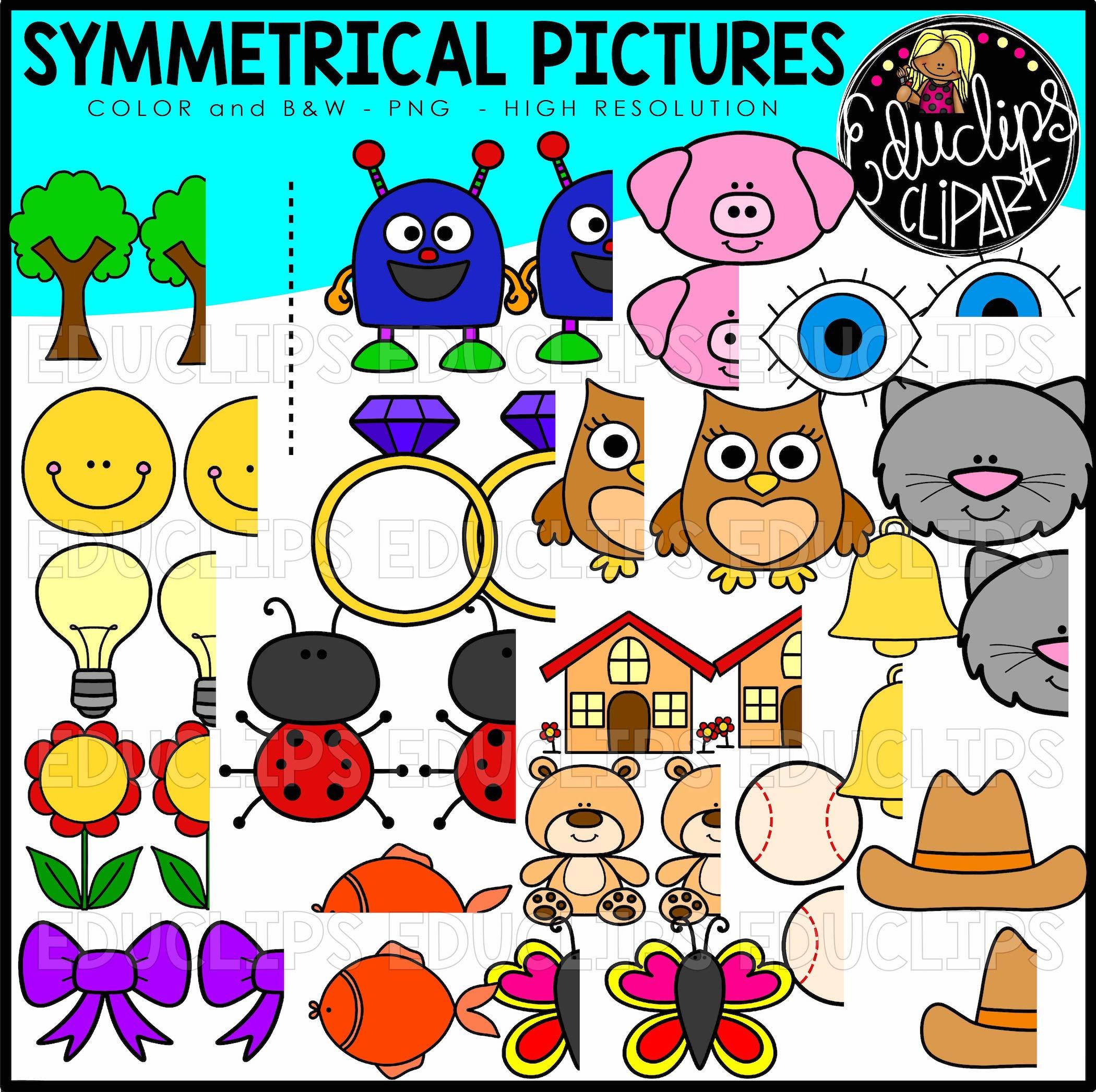 Symmetrical clipart image Symmetrical Pictures Clipart Bundle (Color and B&W) image