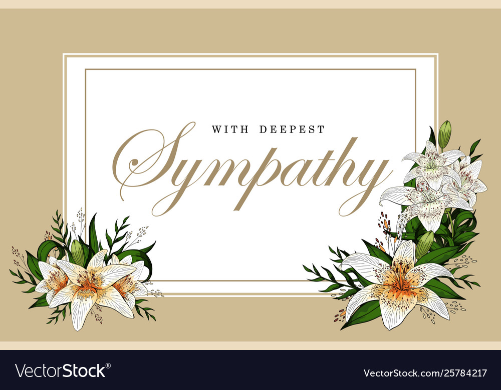 Sympathy clipart pink lillies boarder clipart black and white Condolences sympathy card floral lily bouquet and clipart black and white