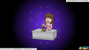 Syrup pouring clipart svg library stock Clipart: A Woman Pouring Maple Syrup Over Her Pancakes on a Purple And  Black Gradient Background svg library stock