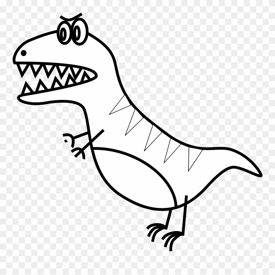 T rex clipart book black and white vector royalty free Simple Line Drawings Of Animals - T Rex Clip Art - Png ... vector royalty free