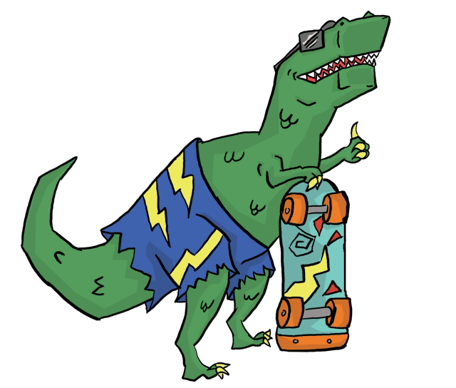 T rex clipart with sun glasses clip art freeuse download Card of the Day: Boss – Totally T-Rex (A skateboarding dinosaur ... clip art freeuse download