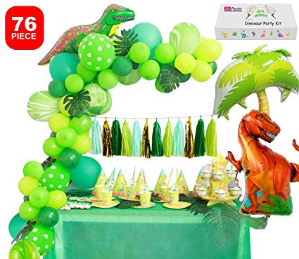 Dinosaur Party Supplies Little Dino Party Decorations Set for Boy Jurassic  World Park T Rex Birthday Balloons Arch Garland Kit Blow Up Dinosaurs ... graphic black and white stock