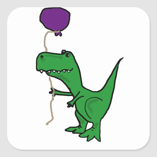 Funny Green Trex Dinosaur Holding Balloon Square Sticker royalty free library
