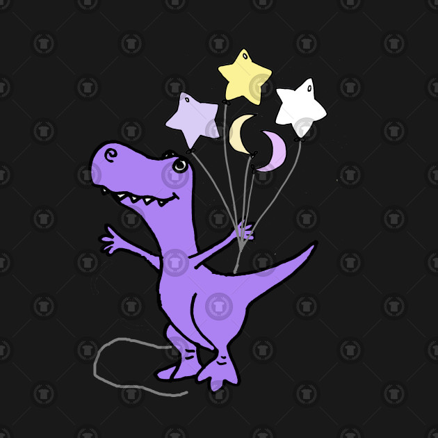 Cute T-rex Dinosaur with Stars and Moon Balloons png free library