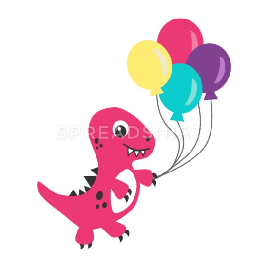 Pink dino cartoon with balloons Buttons small 1\'\' (5-pack) - white clipart transparent stock