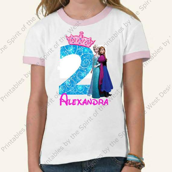 T shirt transfer clipart jpg stock Personalized Second Birthday Girl Iron On Disney Party Frozen T ... jpg stock