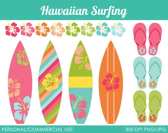 Tabla de surf hawaiana clipart picture freeuse stock Hawaiian Surfing Clipart - Digital Clip Art Graphics for ... picture freeuse stock