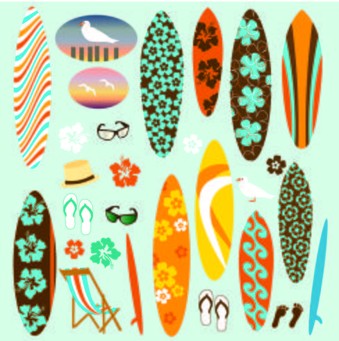 Tabla de surf hawaiana clipart image royalty free Clipart de tabla de surf Vector - Descargue Gráficos y ... image royalty free