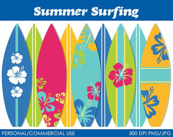 Tabla de surf clipart jpg black and white Summer Surfing Clipart Digital Clip Art Graphics por ... jpg black and white