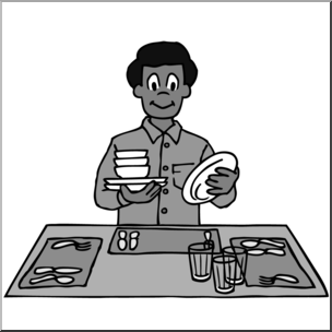 Table setting large clipart vector free library Clip Art: Kids: Chores: Setting the Table Grayscale I ... vector free library