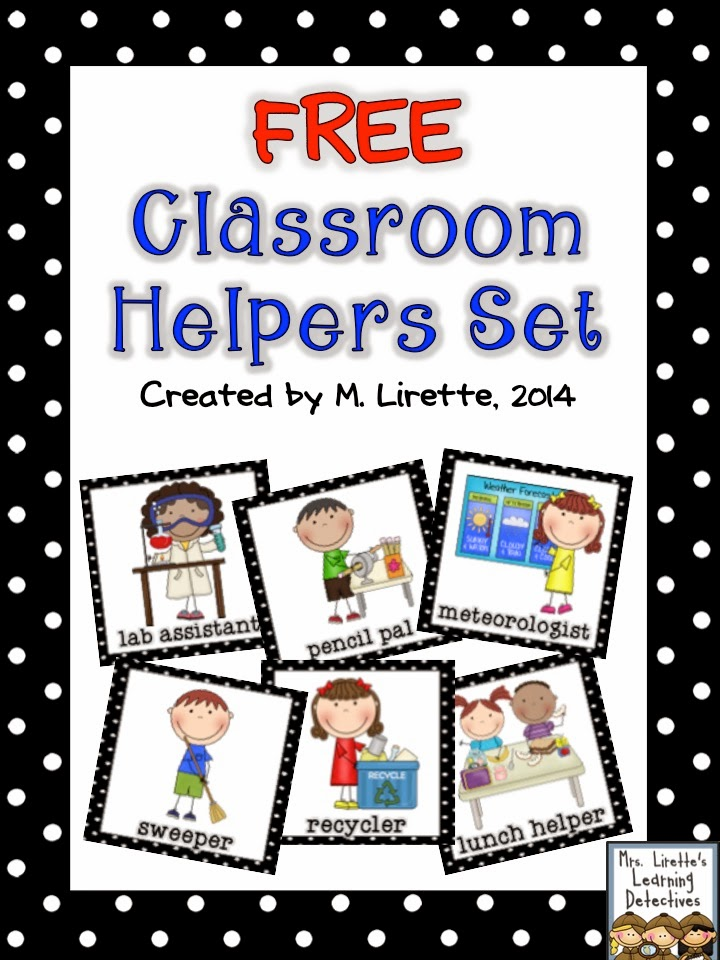 Table wiper job clipart clipart black and white stock Mrs. Lirette\'s Learning Detectives: Classroom Helpers Set {FREE} clipart black and white stock