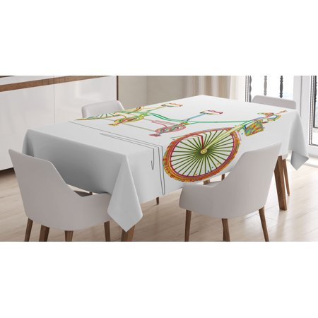 Tablecloth prints clipart banner royalty free download Decorative Tablecloth, Colorful Tandem Bicycle Design on White Background  Pattern Clipart Style Print, Rectangular Table Cover for Dining Room ... banner royalty free download